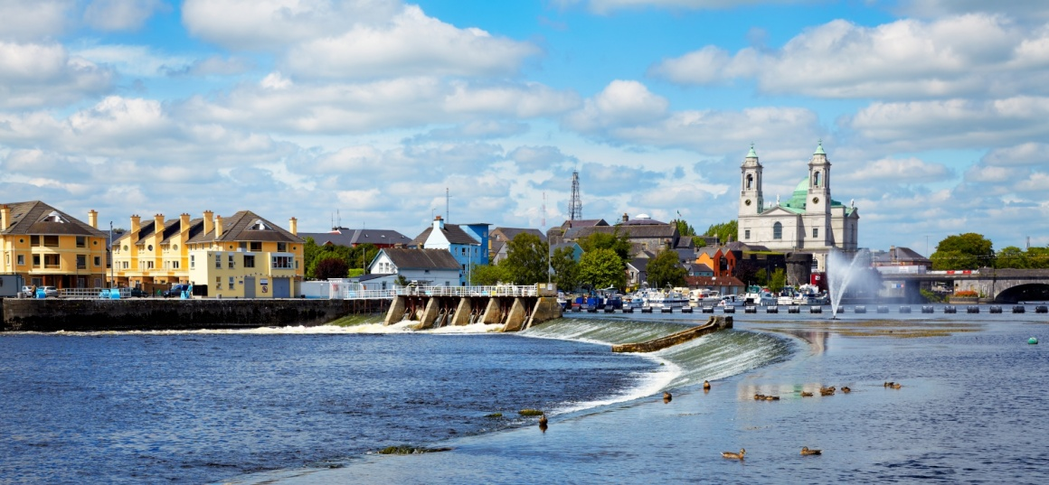 Panorama Of Athlone City And The Shannon River In Summer Co Westmeath